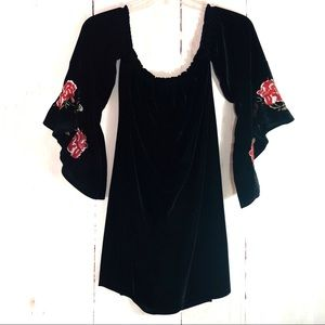 FRANCESCA'S | Black Velvet Boho Mini Dress Tunic L